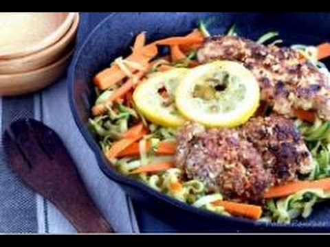 Almond Crusted Chicken Breast with Lemon Zucchini Noodles