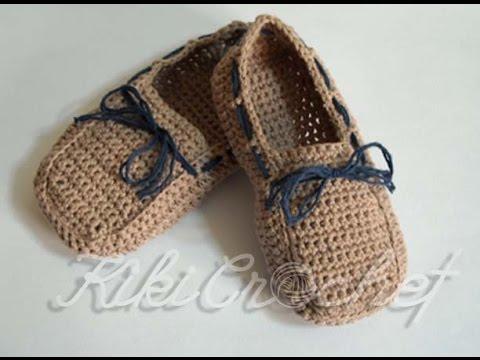 7bdb7b08d9c Πλεκτα Μοκασινια με Βελονακι/ Crochet Boat Shoes Tutorial - YouTube