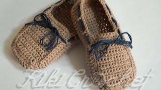 Πλεκτα Μοκασινια με Βελονακι/ Crochet Boat Shoes Tutorial