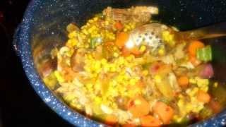 Roasted Corn Chicken Vegetables Dish