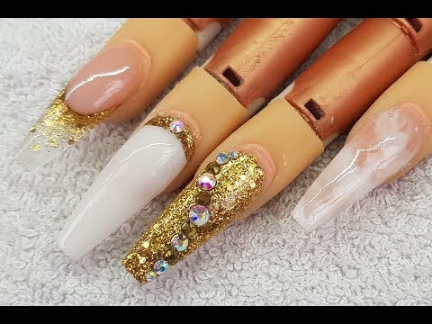 Acrylic Nails LONG Coffin Gold & White Design #NOT POLISH