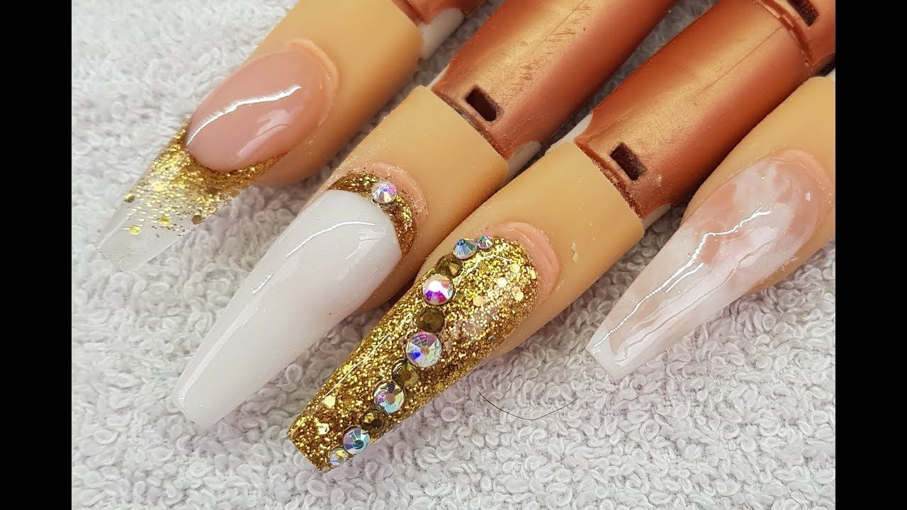 Acrylic Nails LONG Coffin Gold & White Design #NOT Polish 💛 - YouTube