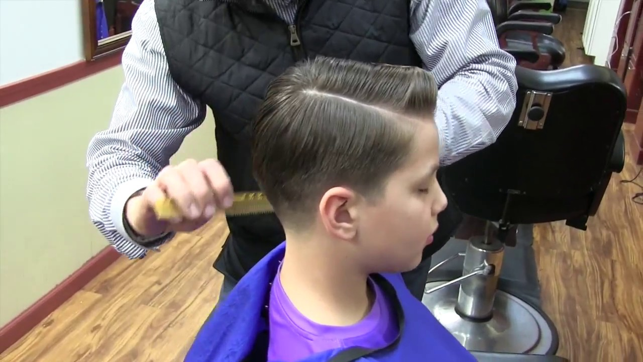 Kid S Haircut With A Comb Over And A Hard Part Youtube