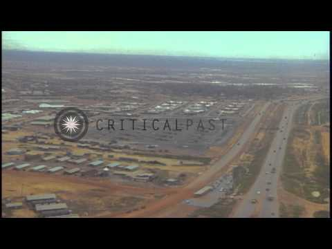 Aerial view of  United States army port facilities at Saigon River and Bien Hoa A...HD Stock Footage