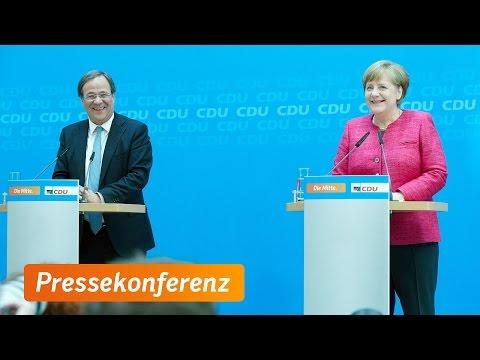 Pressekonferenz mit Angela Merkel und Armin Laschet