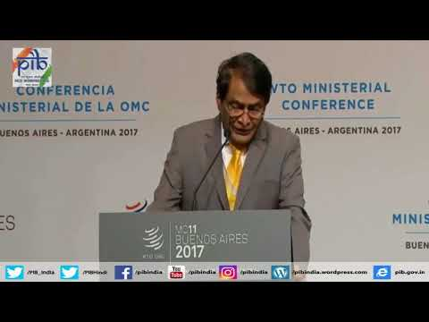 Union Minister Suresh Prabhu speaks at 11th WTO Ministerial Conference, in Argentina