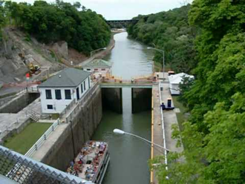 Ascending Lock Through of the Erie Canal Locks at Lockport NY USA - Part 1 of 2