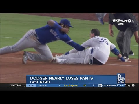 Cody Bellinger of the Los Angeles Dodgers loses his pants