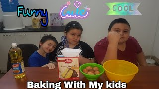 Vanilla Frosted cake || Baking With The Kids || Funny and Cute