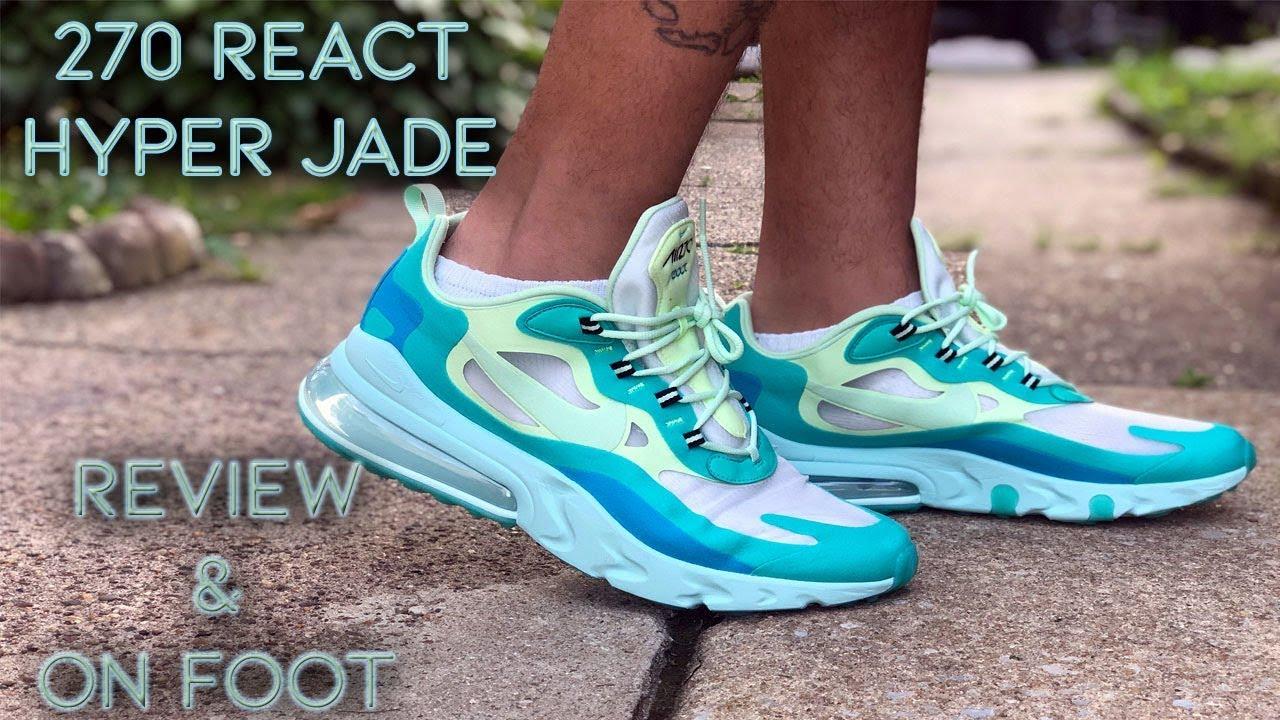 air max 270 react hyper jade on feet