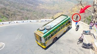 Kolli Hills; Private Bus Turning On very biggest Hairpin bend at Kolli Hills Road in Namakkal