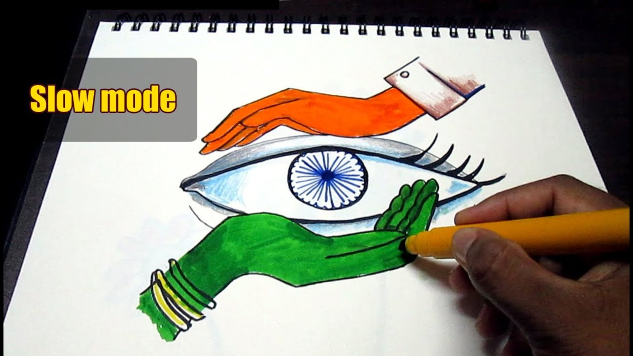 Creative Drawing Happy Independence Day For Kids Slow Mode