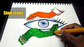 Creative drawing (Happy Independence Day) for kids\ Slow mode