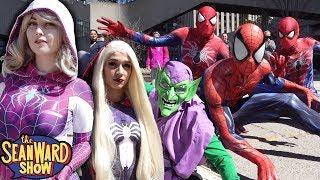 SPIDER-MAN vs SINISTER SIX Epic Superhero Battle Flash Mob Prank - Flips, stunts in real life