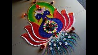 Twin peacock rangoli for Diwali | Creative and unique rangoli design for festivals