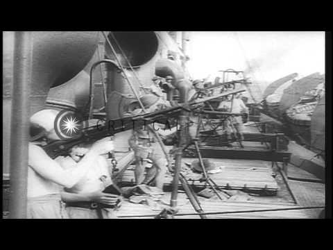 Japanese attack on American ships and carriers in the Pacific during World War 2 HD Stock Footage