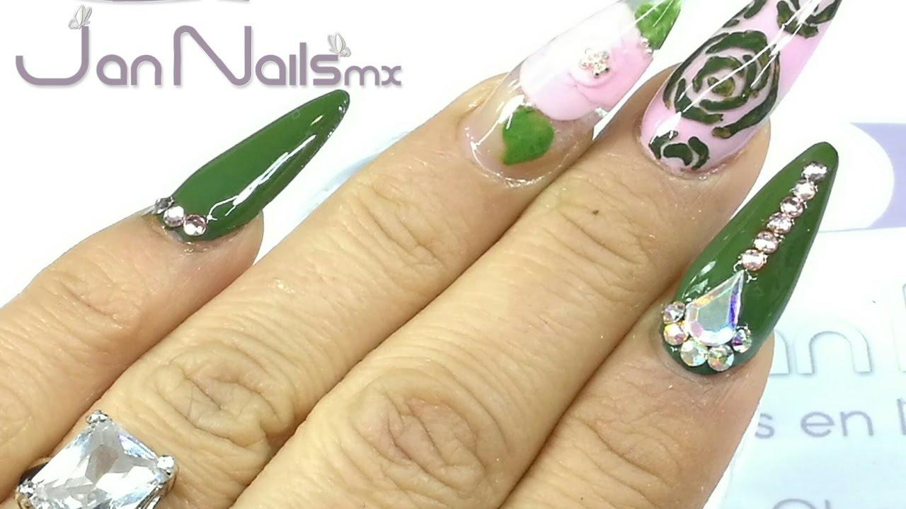 💅 Uñas Verde Militar con Rosa / Stiletto - YouTube