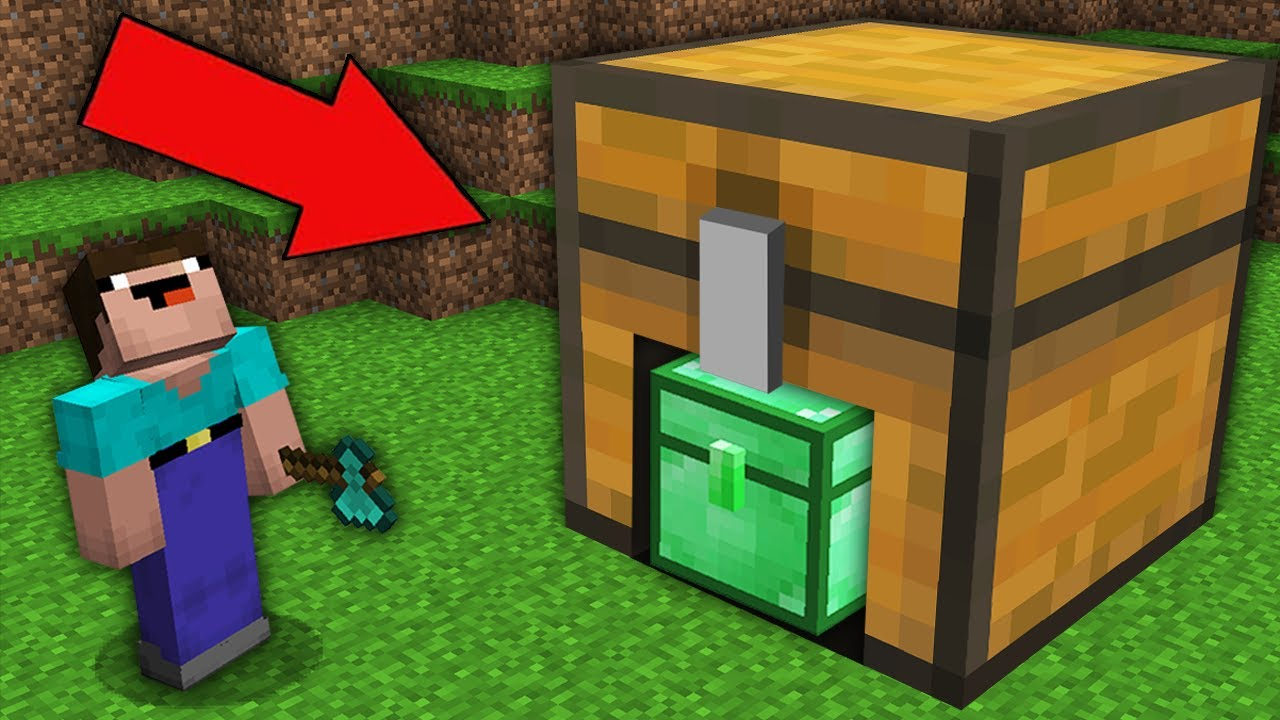 Minecraft NOOB vs PRO: NOOB FOUND SUPER SECRET EMERALD CHEST IN LARGE CHEST! 100% trolling