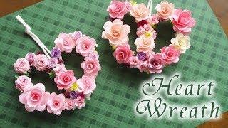 ハートが可愛いミニバラリースの作り方 【ペーパーフラワー】-  DIY Paper Rose Wreath