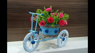 DIY cycle decorative piece | Best out of waste craft from jute string, cardboard, disposable box