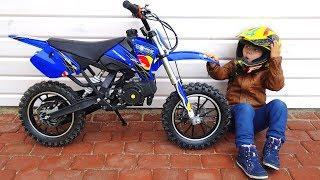 Funny BABY Unboxing And Test Drive The Cross Bike - Ride On Mini BIKE POWER WHEEL Pocket Bike