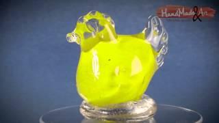 KURA SZKLANA - żółta, mała, ręcznie robiona