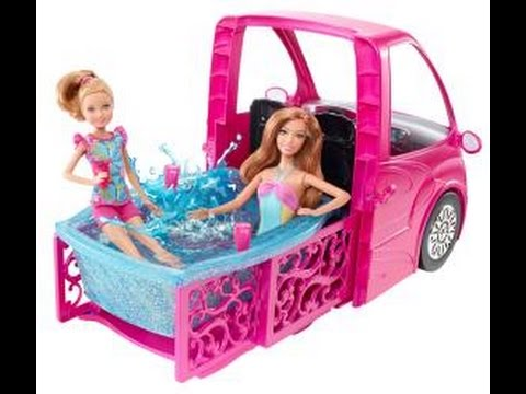 Swimming pool bathroom and barbie bed barbie glam camper van rv fun toys review barbie for Barbie camper van with swimming pool