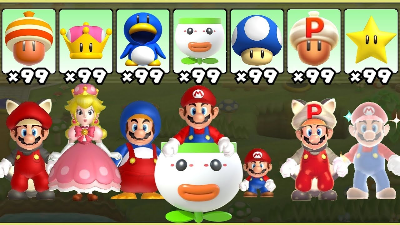 New Super Mario Bros U Deluxe All Power Ups Youtube