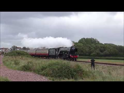 FLYING SCOTSMAN AND STORMY SEA AT BLUE ANCHOR WSR
