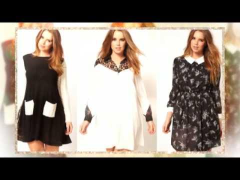 Черно-белое платье для полных