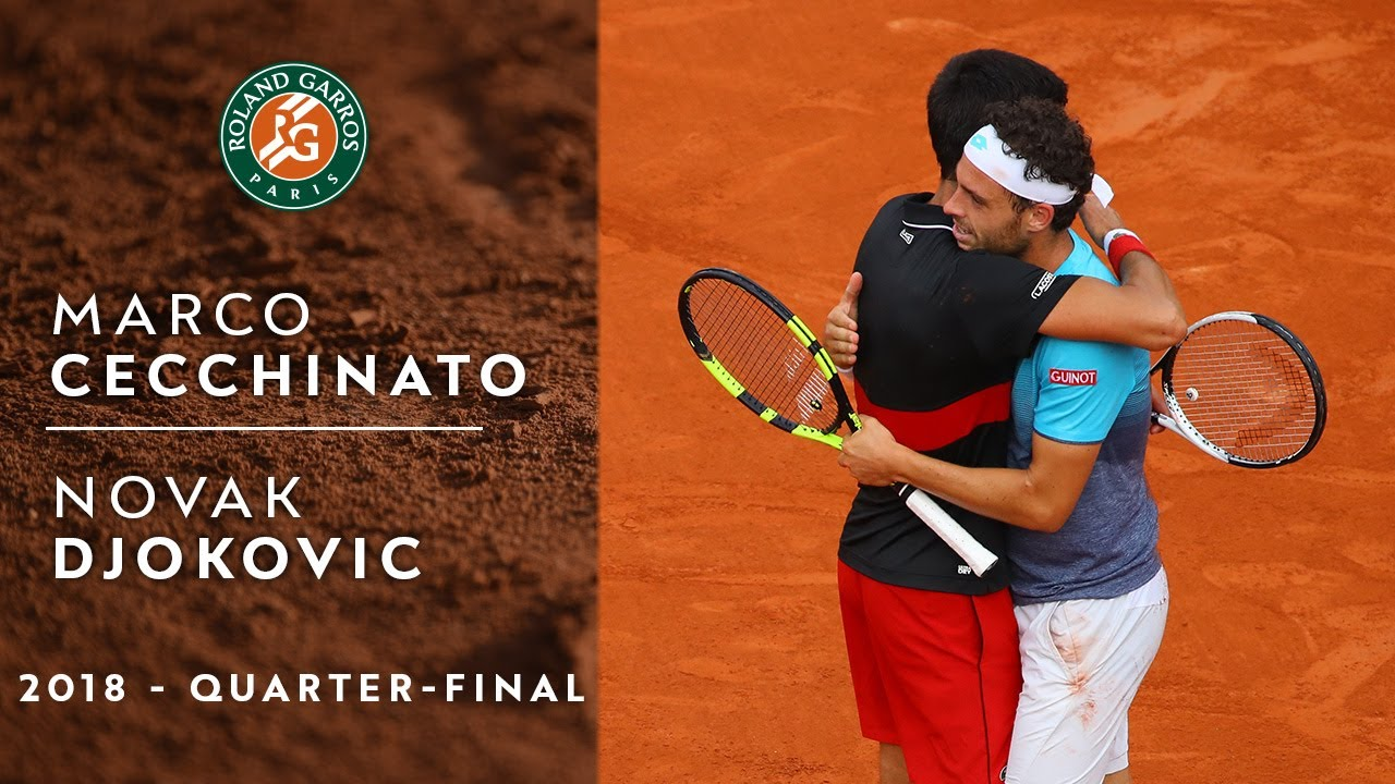 Marco Cecchinato Vs Novak Djokovic Quarter Final Roland Garros 2018 Youtube