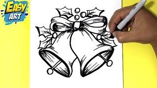 como dibujar una campana navideña - how to draw a Christmas bell
