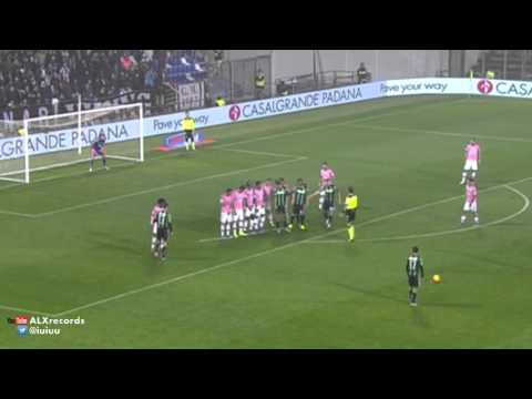 Juve keeper Gigi Buffon was beaten by a brilliant free-kick from Sassuolo's Nicola Sansone