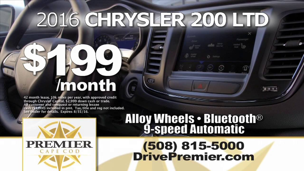 Premier Cape Cod Hyannis Ma Chrysler August 2016 Featured Offers Summer Clearance Event
