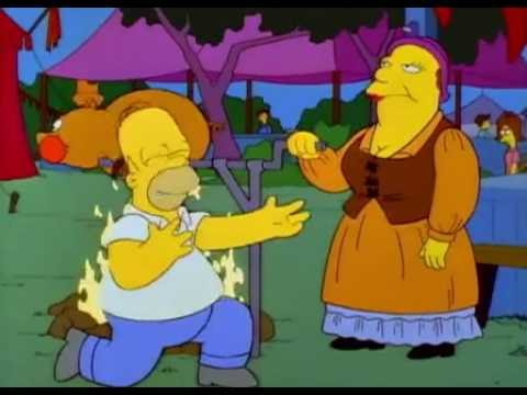 Homer Simpson and the sucking pig