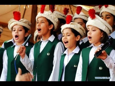 Pakistan National Anthem by school kids  Pak sar zamin shad bad Kishwar-e-hasin shad bad