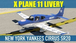 vFlyteAir Cirrus SR20 New York Yankees Livery X Plane 11