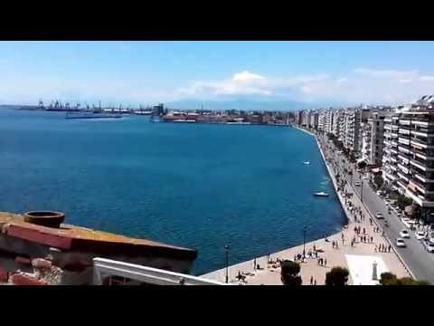 Panoramic view from White tower of Thessaloniki Greece. [HD clear sky]