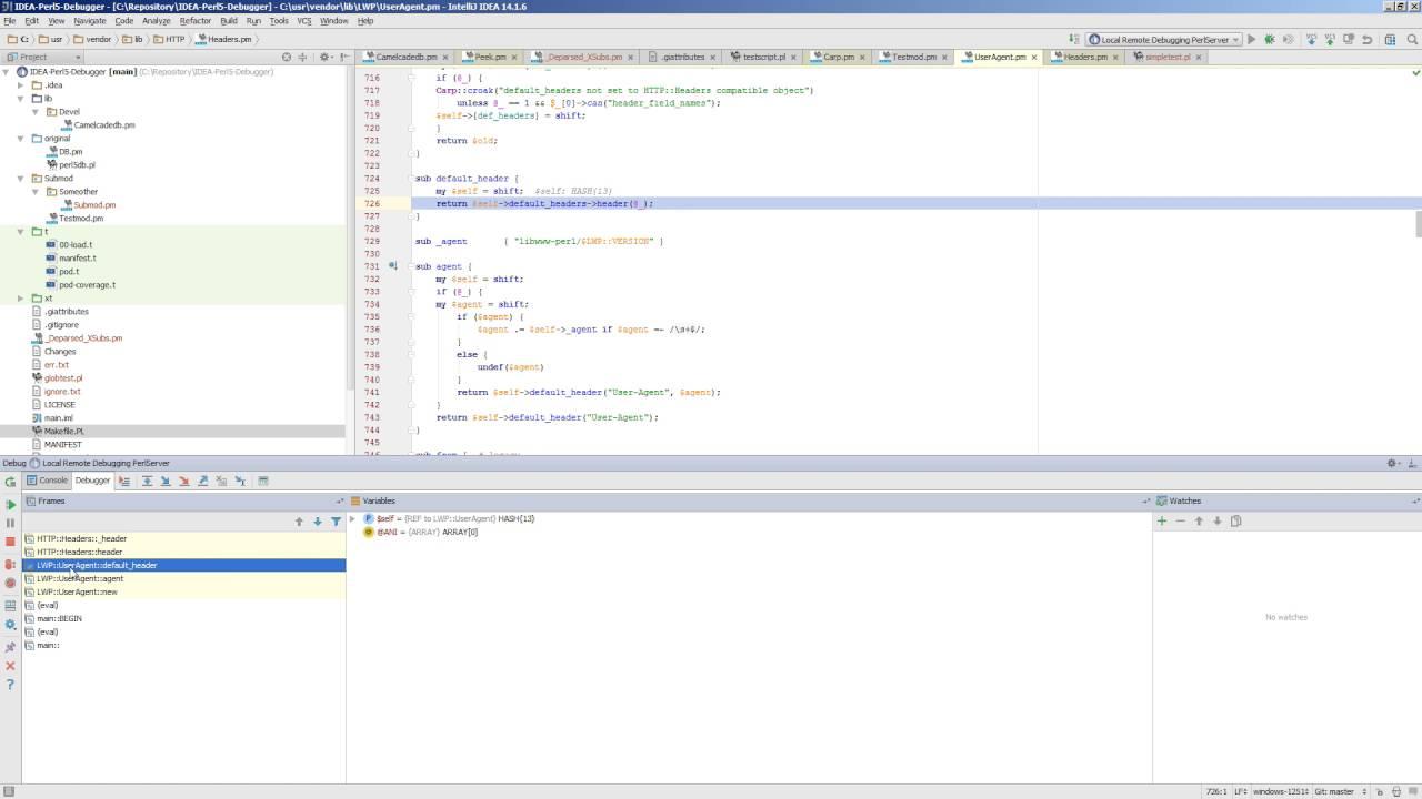Perl5 remote debugging in IntelliJ IDEA