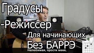 Градусы - Режиссер (Видео урок на гитаре) для начинающих. Без Баррэ