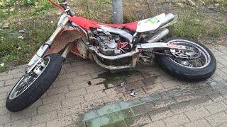 Honda CRF 450 ENGINE BLOWS while wheelie, almost wrecks!! SupermotoTrolls