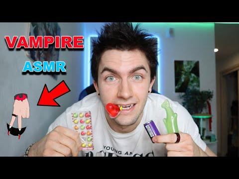 VAMPIRE ASMR...!!! TRYING JELLY FRUIT, MINI SODA, GUMMY, JELLY POCKET, JELLY CUPS AND MORE!! - Jaden Sprinz