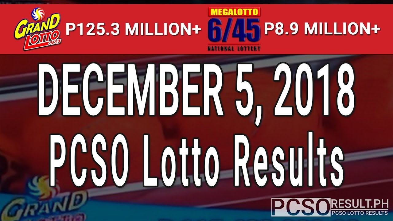 PCSO Lotto Results Today December 5, 2018 (6/55, 6/45, 4D, Swertres, STL & EZ2) - YouTube