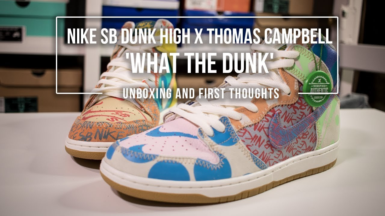 great fit 809fa db83d Nike SB Zoom Dunk High Premium  Thomas Campbell   What The Dunk  Sneaker  Unboxing
