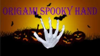 [Halloween Special] Origami Spooky Hand - DIY paper spooky hand; Skeleton hand paper tutorial
