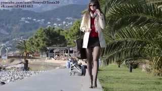 Sonya D. Ножки в сапожках. Прогулка по набережной (Walking in my shoes and pantyhose)
