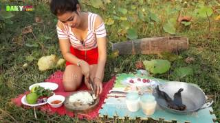OMG!! Cute girl Cooking Mix Vegetable with fish Recipe - How to cook khmer food in my village