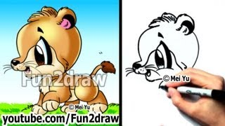 Drawing Tutorials - How to Draw a Lion Cub (Big Cats) - Cute Art - Fun2draw