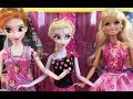Barbie Elsa Anna Fashion Sticker Game Challenge! Barbie Elsa Anna Dolls Play Dress Up!