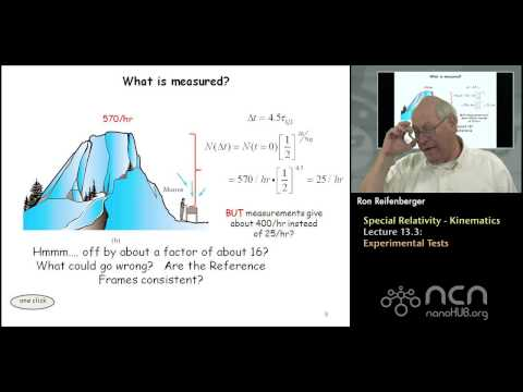 Purdue PHYS 342 L13.3: Special Relativity-Kinematics Experimental Tests